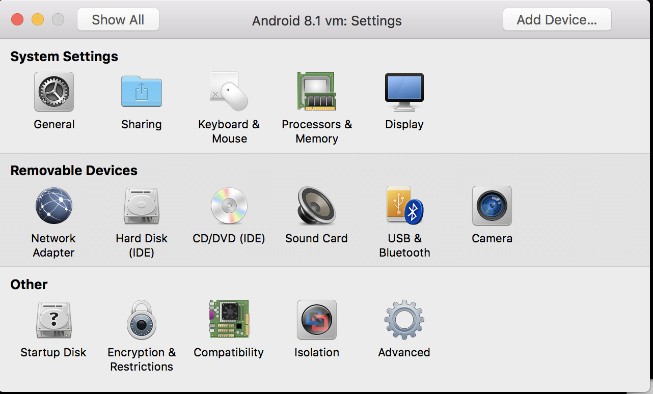 Android 8 1 Virtualised on OS X with VMware Workstation