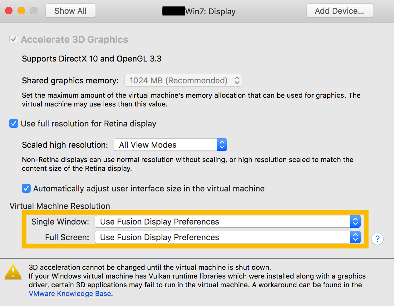 Display Preferences for a single VM - VMware Fusion