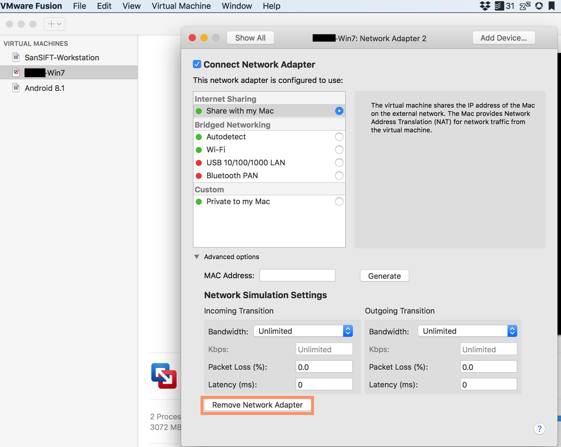 VM has No Network Connection, Windows 7 – VMware Fusion 10 1