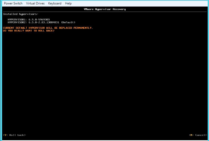 ESXi Rollback - VMware Hypervisor Recovery