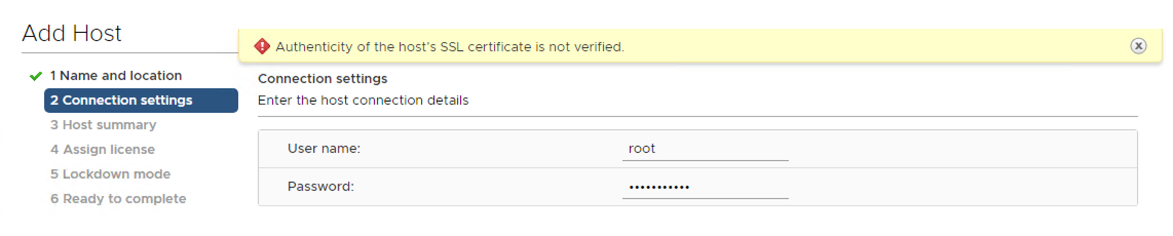 "Troubleshooting: Cannot Add host ""Authenticity of the host's SSL certificate is not verified""."